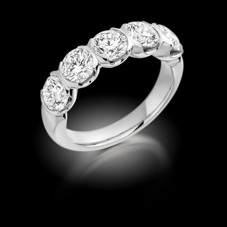 Half Moon Set Diamond Five Stone Ring