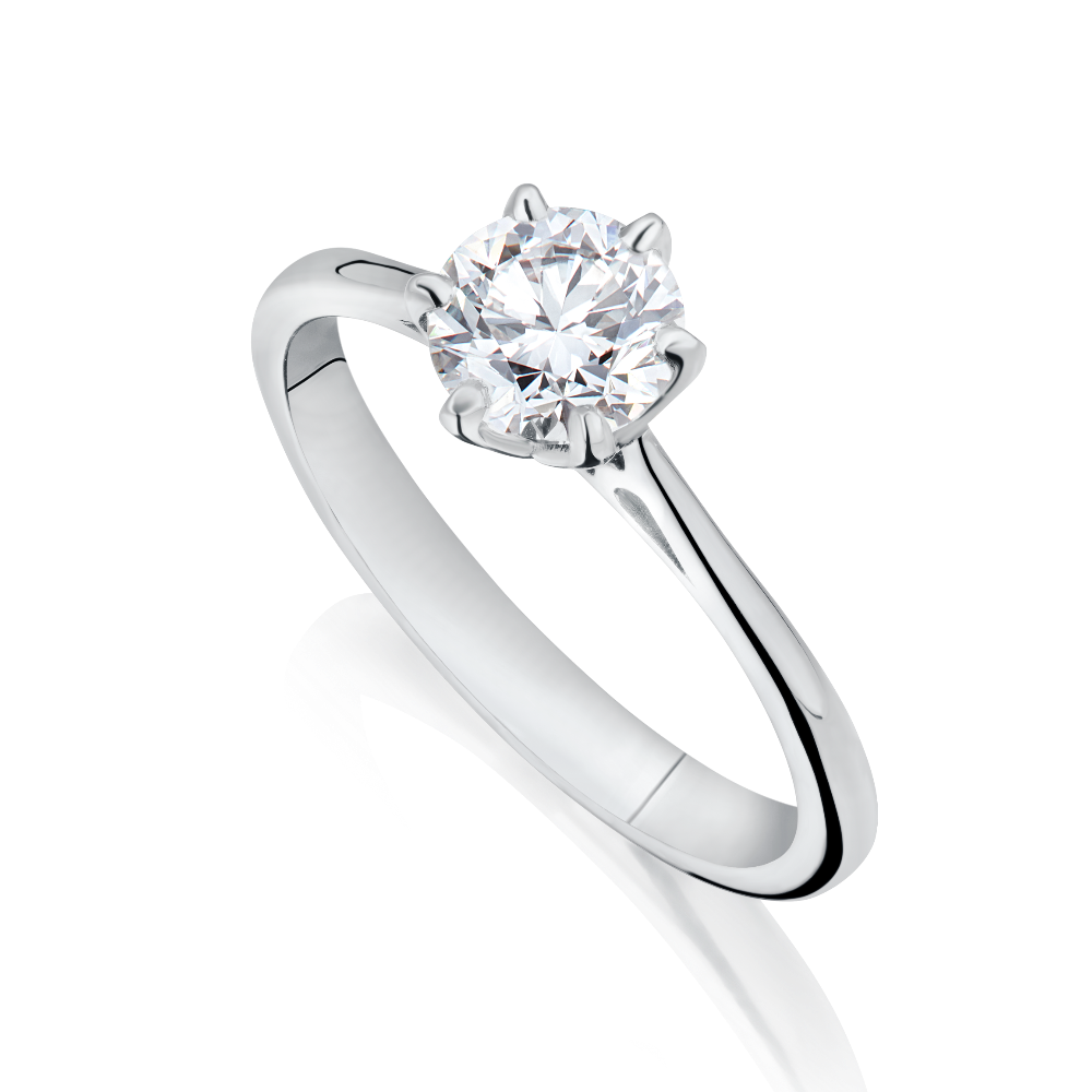 5497ec709 Six Claw Single Stone Diamond Engagement Ring