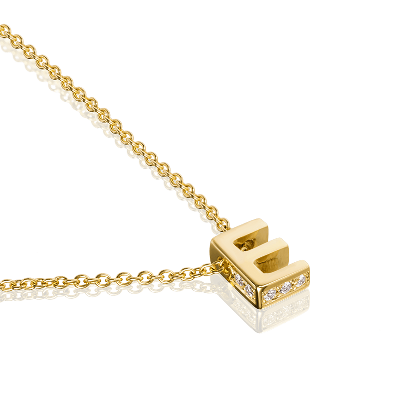 E - Yellow Gold Diamond Set Accents