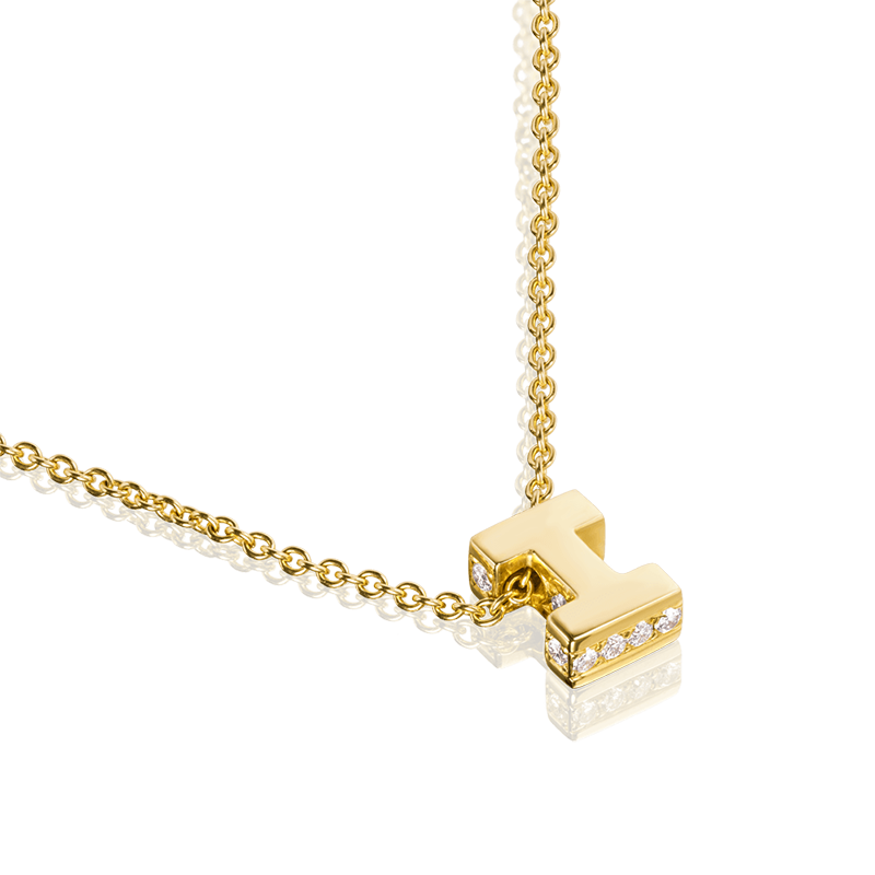I - Yellow Gold Diamond Set Accents
