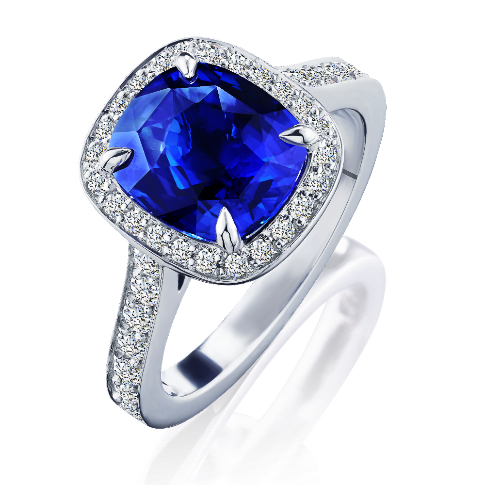 Cushion Shape Sapphire and Diamond Cluster Ring