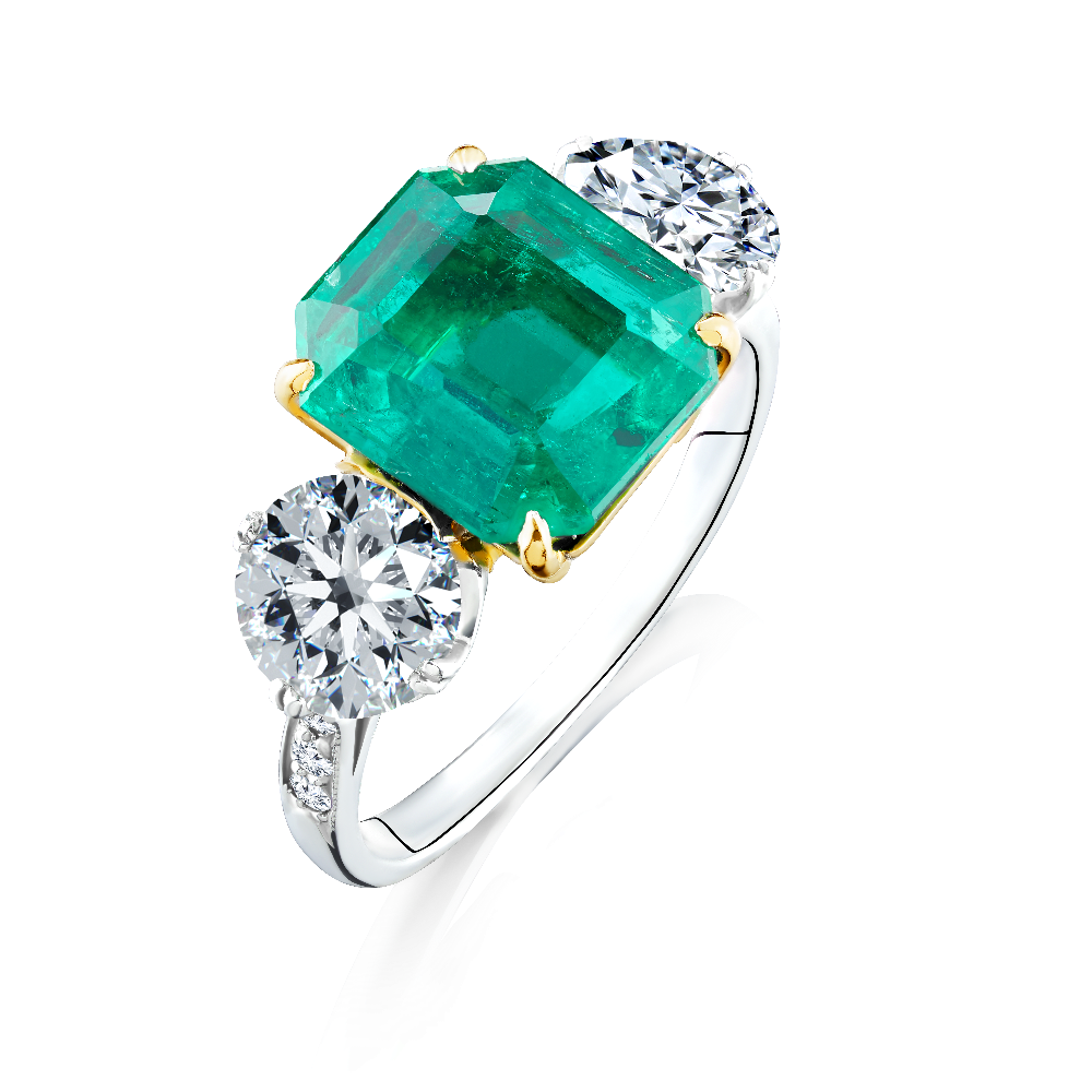 Certificated Colombian Emerald and Diamond Ring