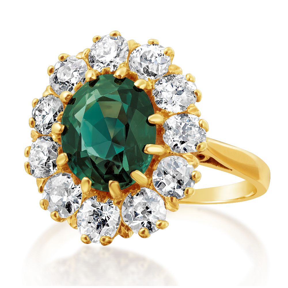 Alexandrite and Diamond Cluster Ring