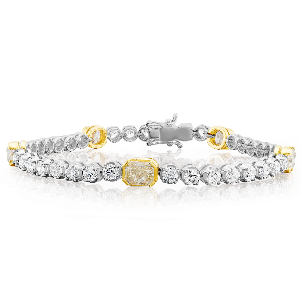 Natural Fancy Yellow and White Diamond Bracelet