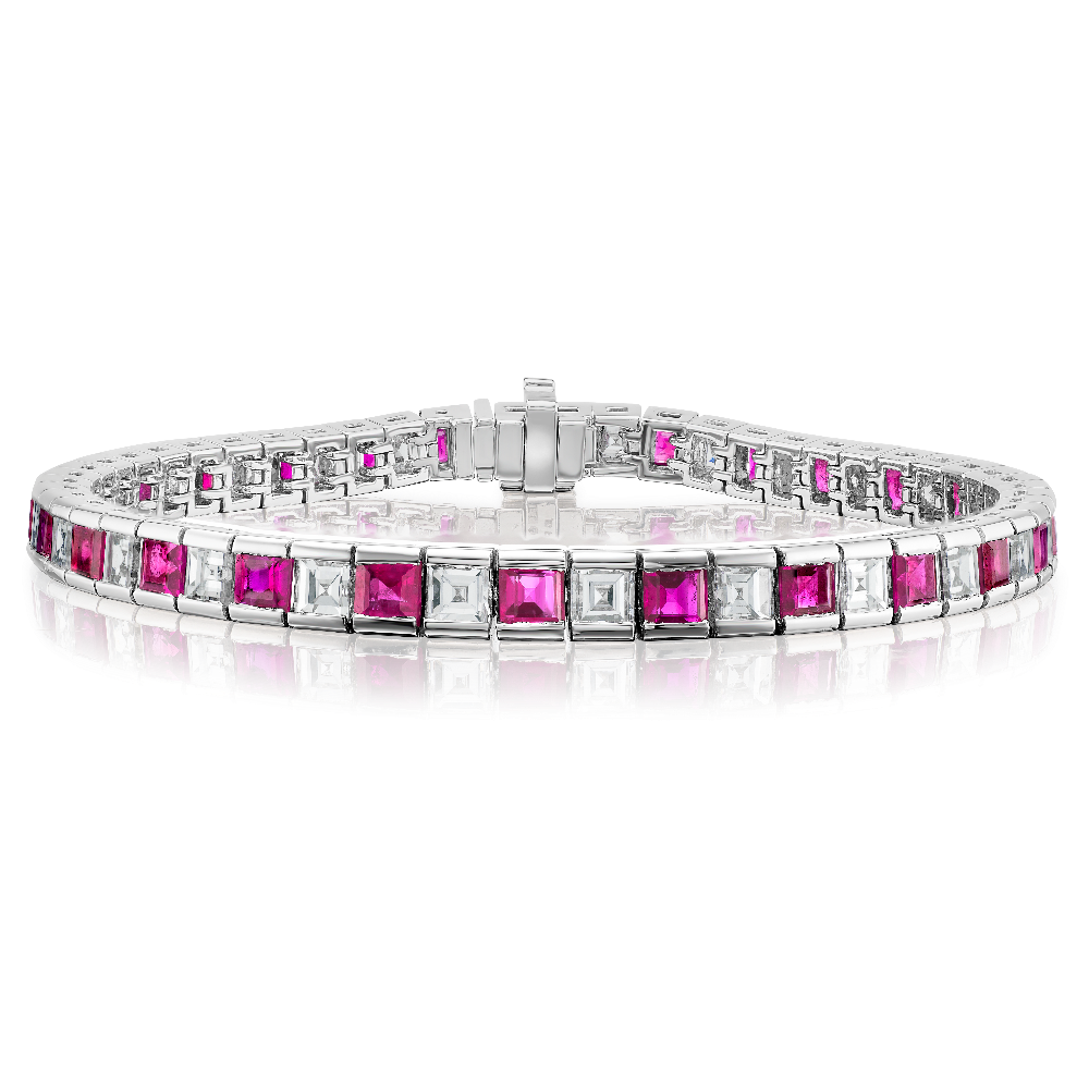 Carré Cut Ruby and Diamond Bracelet