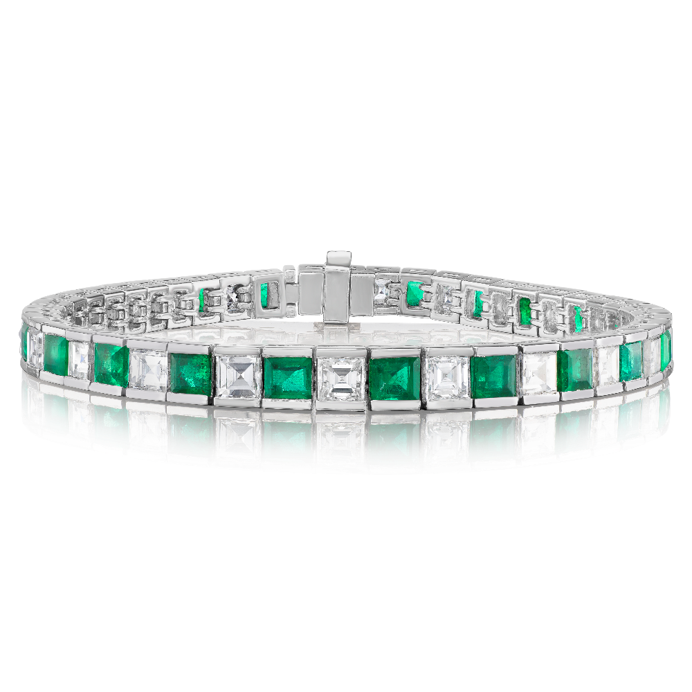 Carré Cut Emerald and Diamond Bracelet