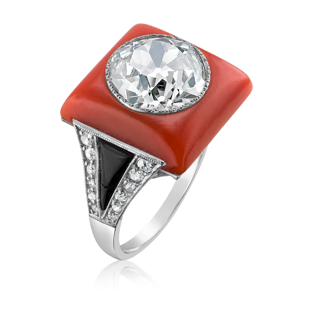 Art Deco Diamond, Coral and Onyx Ring
