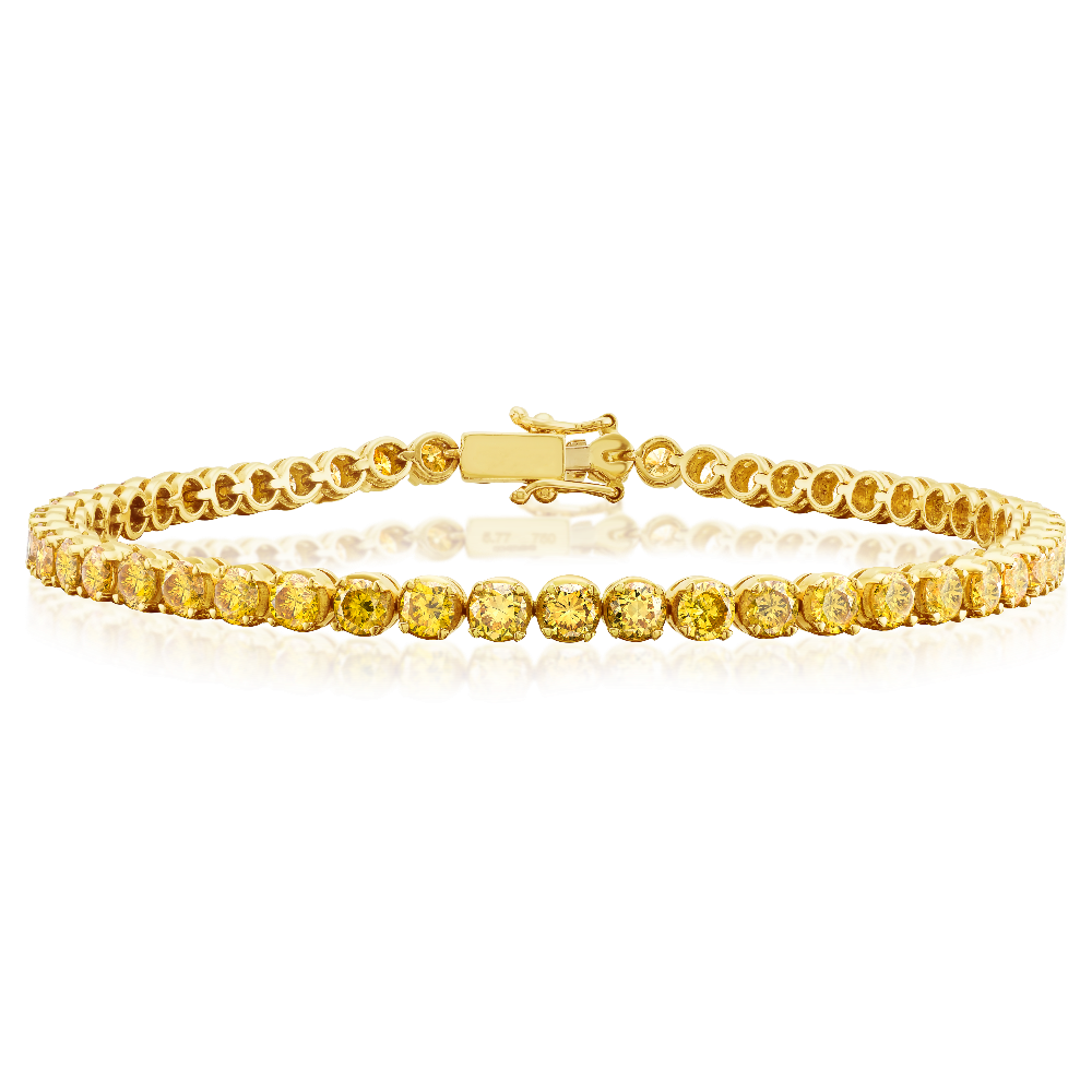 Fancy Vivid Yellow Diamond Line Bracelet