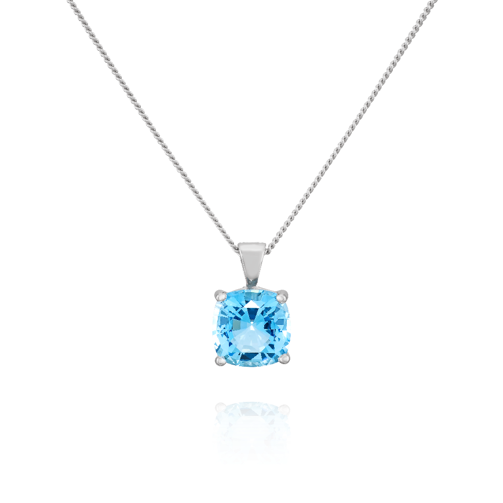 Cushion Cut Aquamarine Pendant