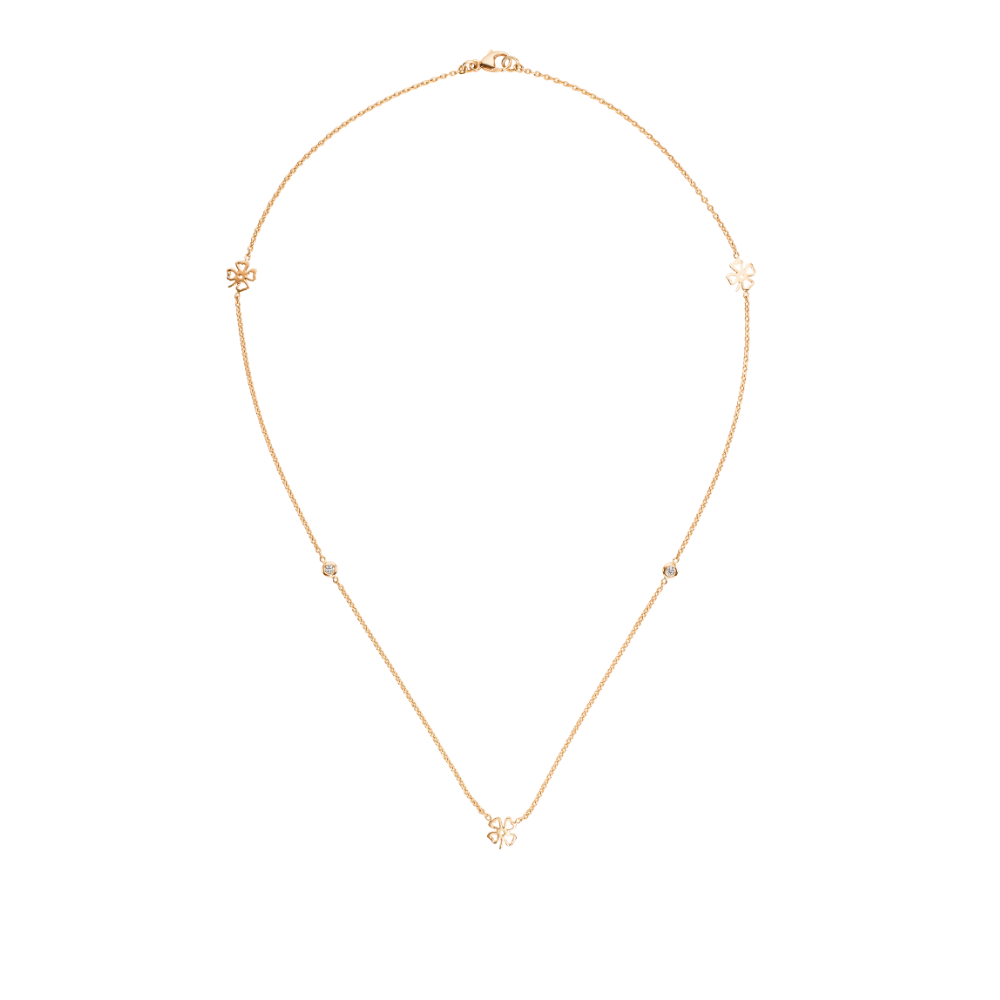 18ct Rose Gold Four Leafed Clover Necklet