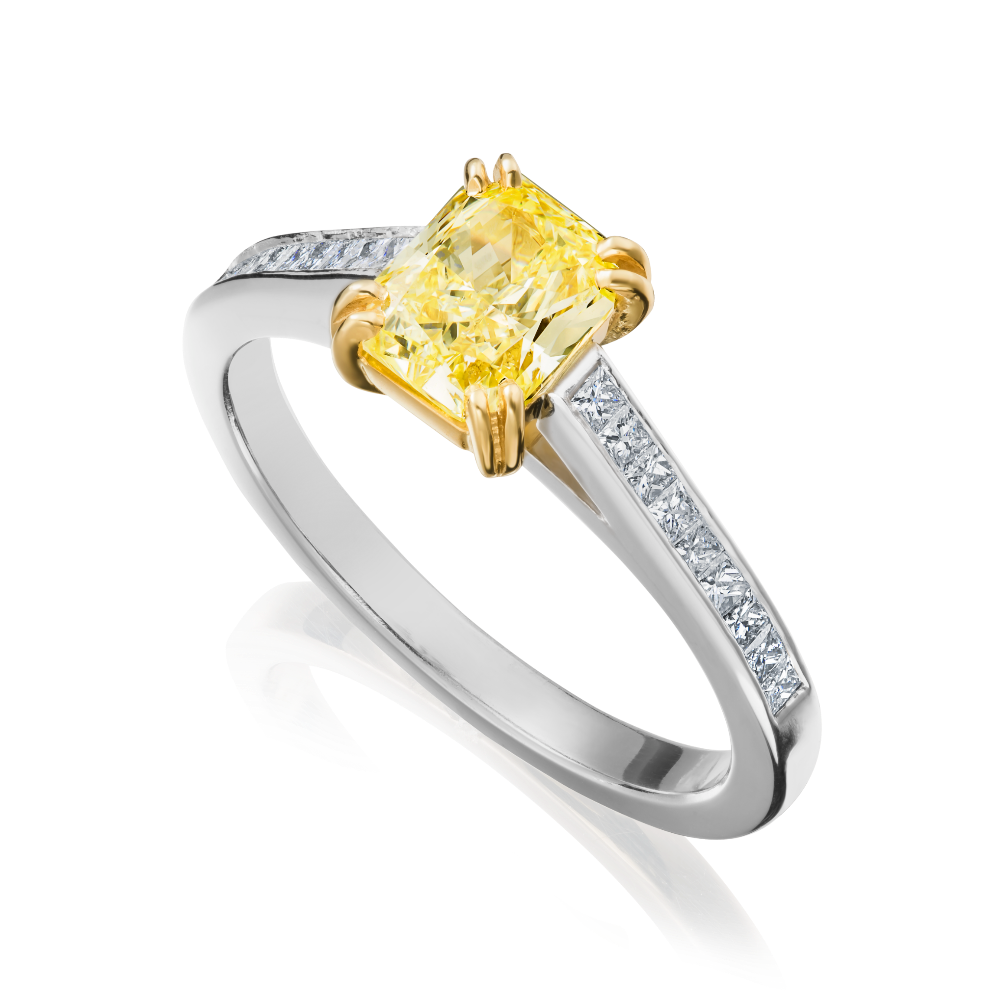 Natural, Yellow, Radiant Cut Diamond With Princess Cut Diamond Set Shoulders