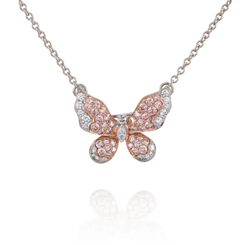 Pink and White Diamond Sett Butterfly Pendant