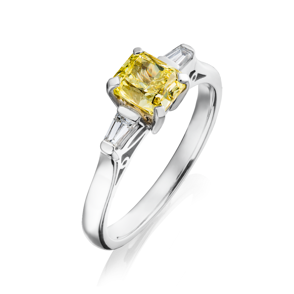Certificated, Fancy Intense Yellow Radiant Cut Diamond Ring