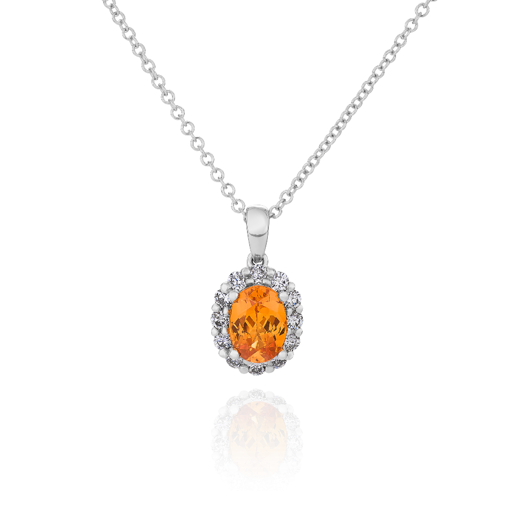 Fire Opal and Diamond Pendant