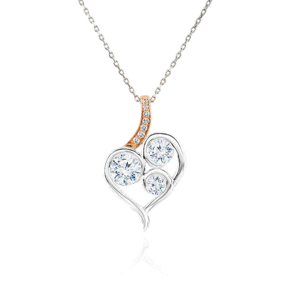 Abstract Diamond Heart Pendant