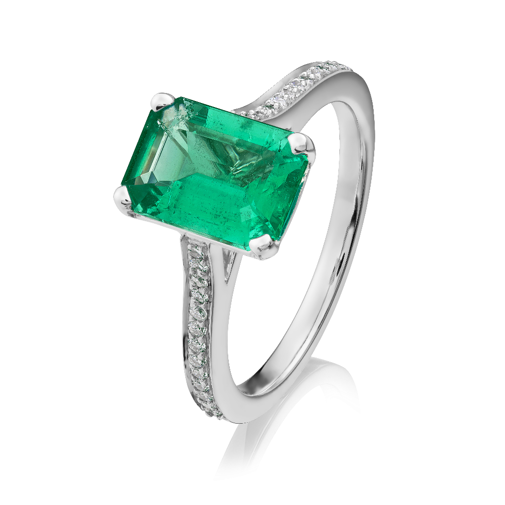 Single Stone Colombian Emerald Ring with Diamond Set Shoulders