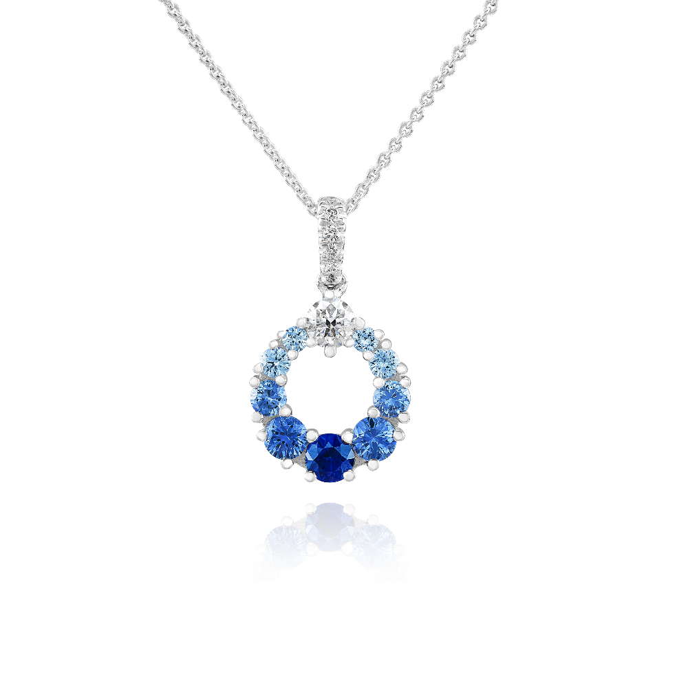 Graduated Colour Sapphire and Diamond Pendant