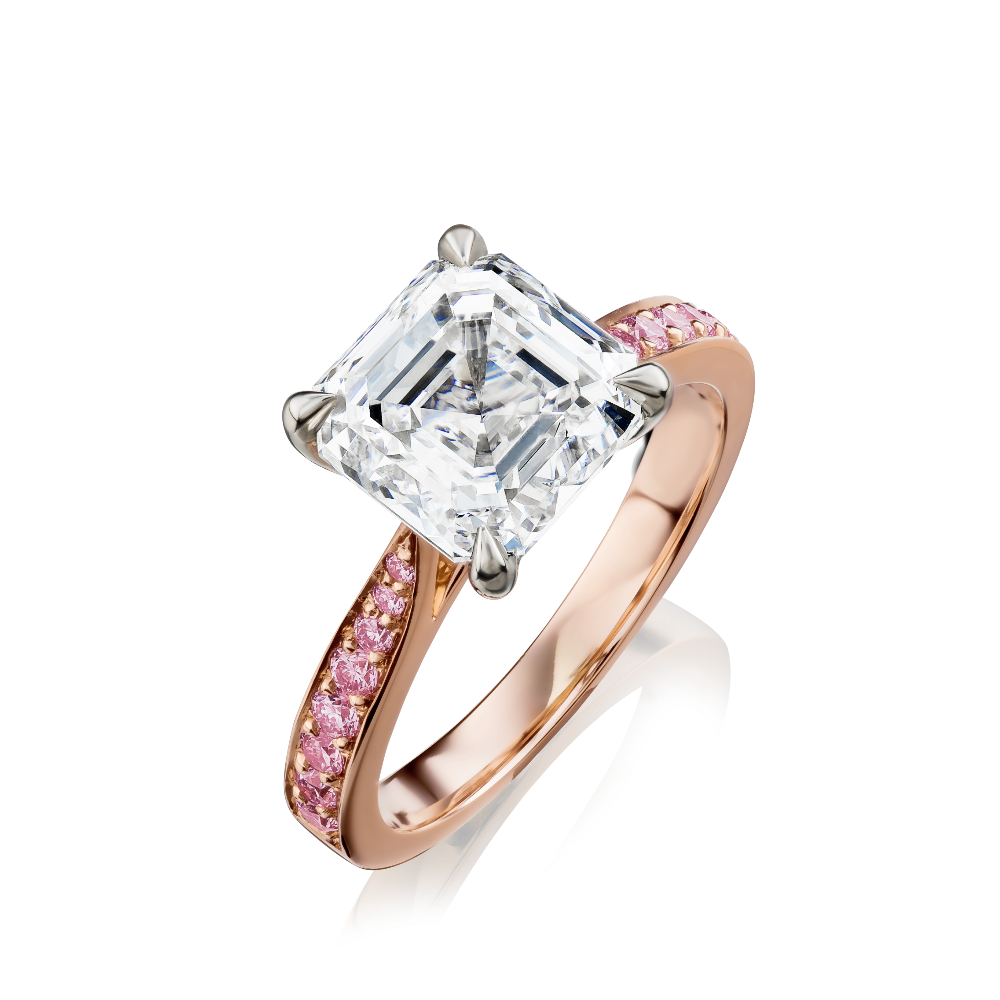 Square Emerald Cut Diamond Ring With Pink Diamond Shoulders