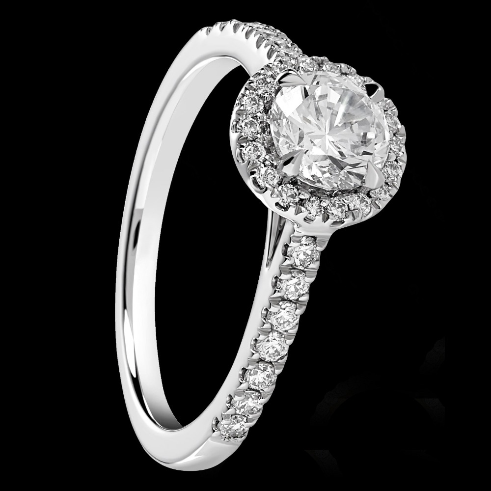 Round Brilliant Cut Diamond Engagement Ring With Diamond Surround