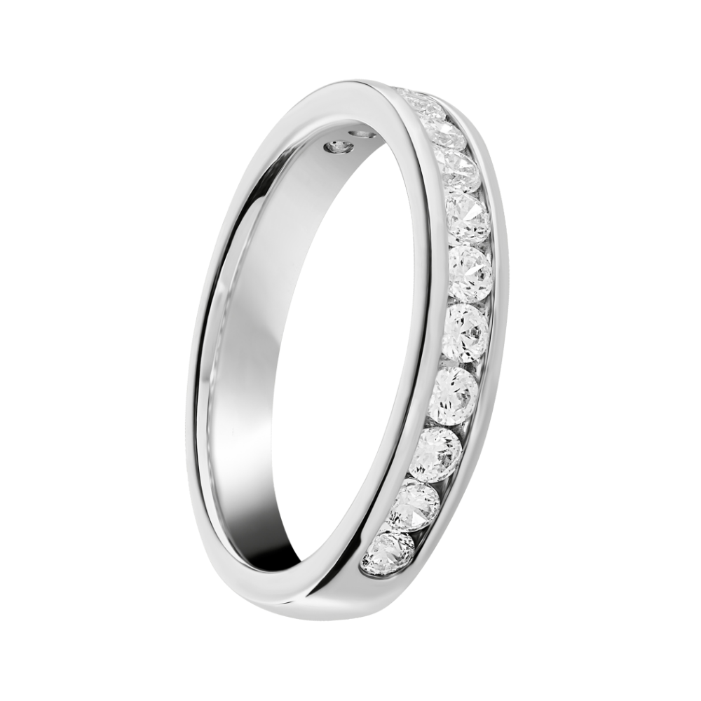 Channel Set Round Brilliant Cut Diamond Half Eternity Ring