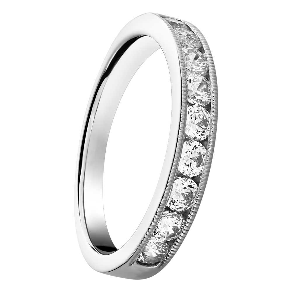 Channel Set Half Eternity Ring With Milgraine Edge