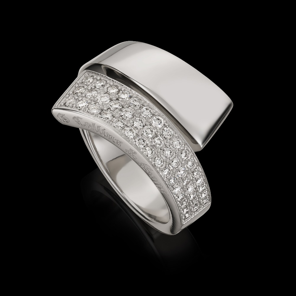 Half Pavé Set Diamond 'GC' Ring