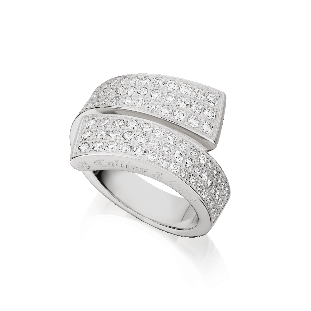 Three Row Pavé Set Diamond 'GC' Ring