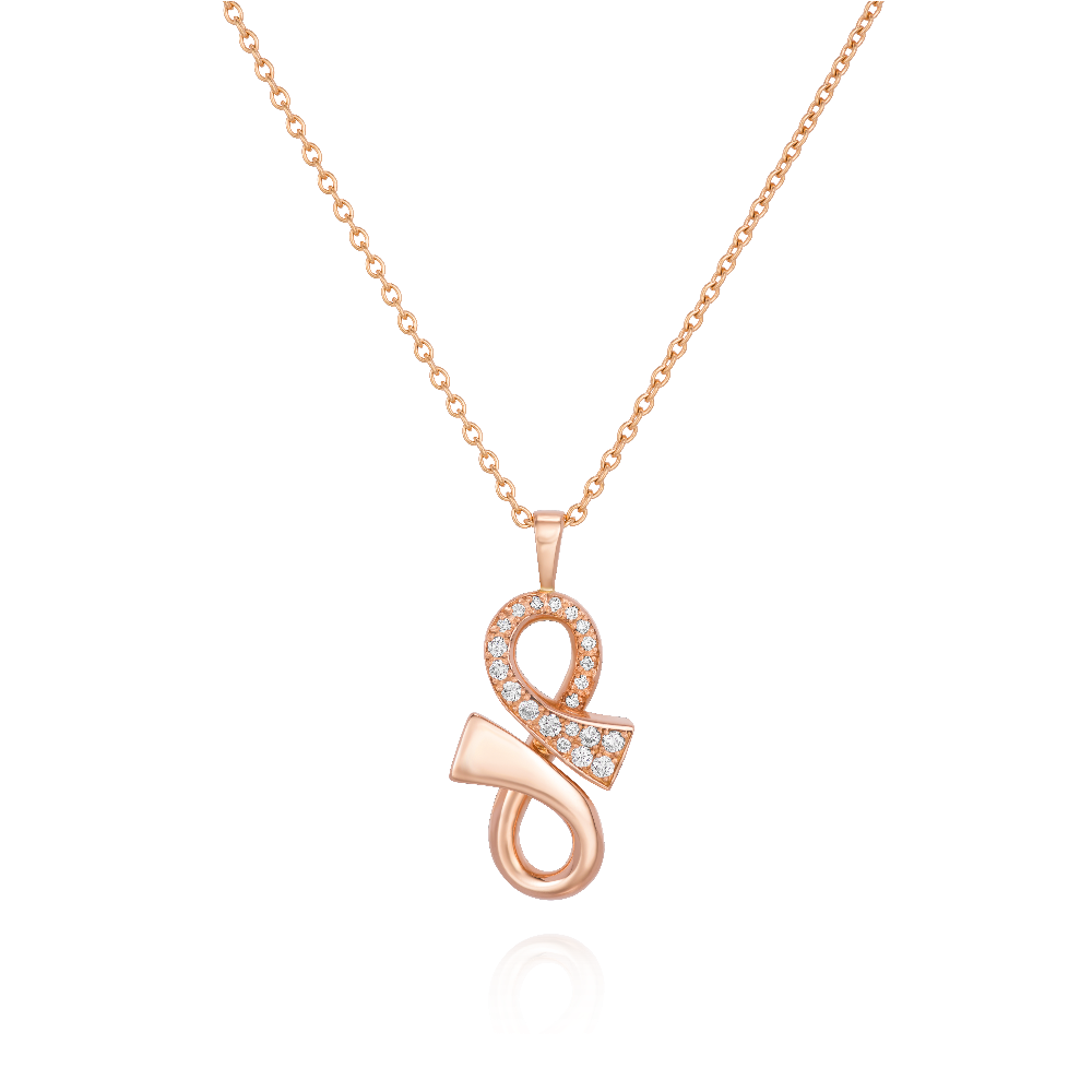 Half Diamond Set Rose Gold 'GC' Pendant