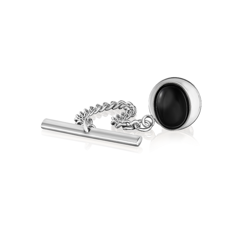 Sterling Silver and Onyx Tie Tack