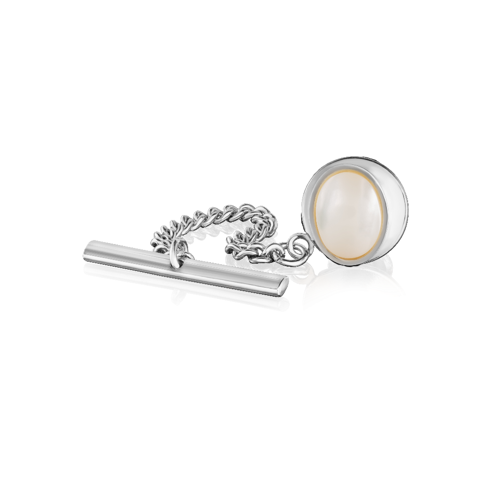 Sterling Silver and Mother of Pearl Tie Tack