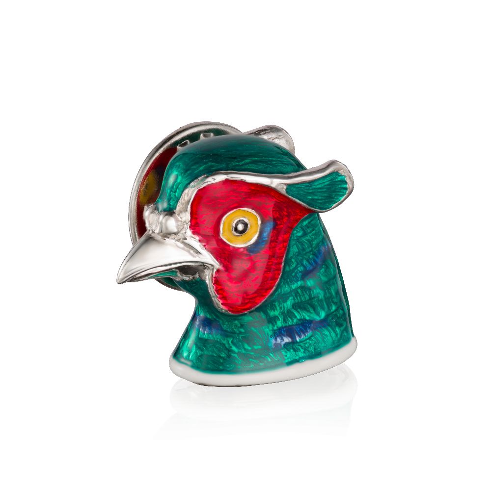 Sterling Silver and Enamel Pheasant Head Tie Pin