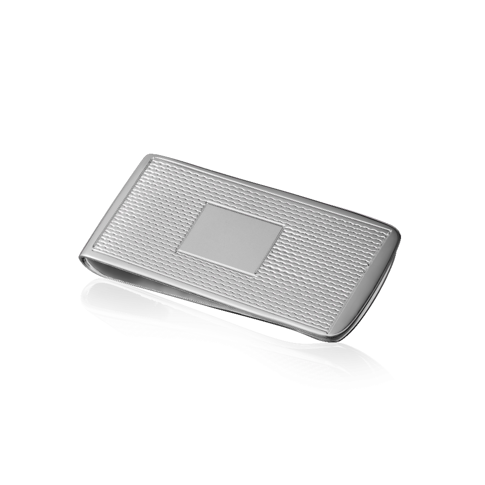 Engine Turned Sterling Silver Money Clip