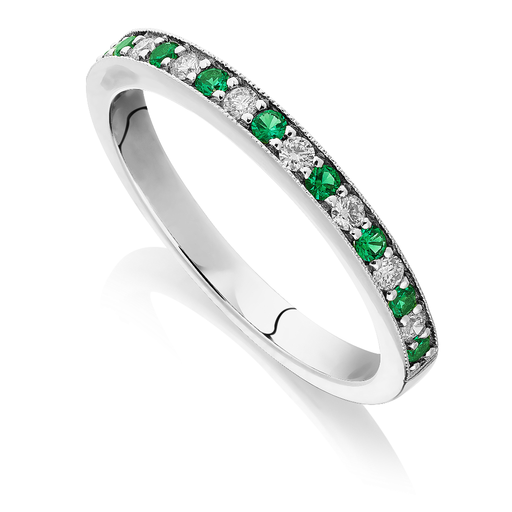 Emerald and Diamond Half Eternity Ring With Milgrain Edge