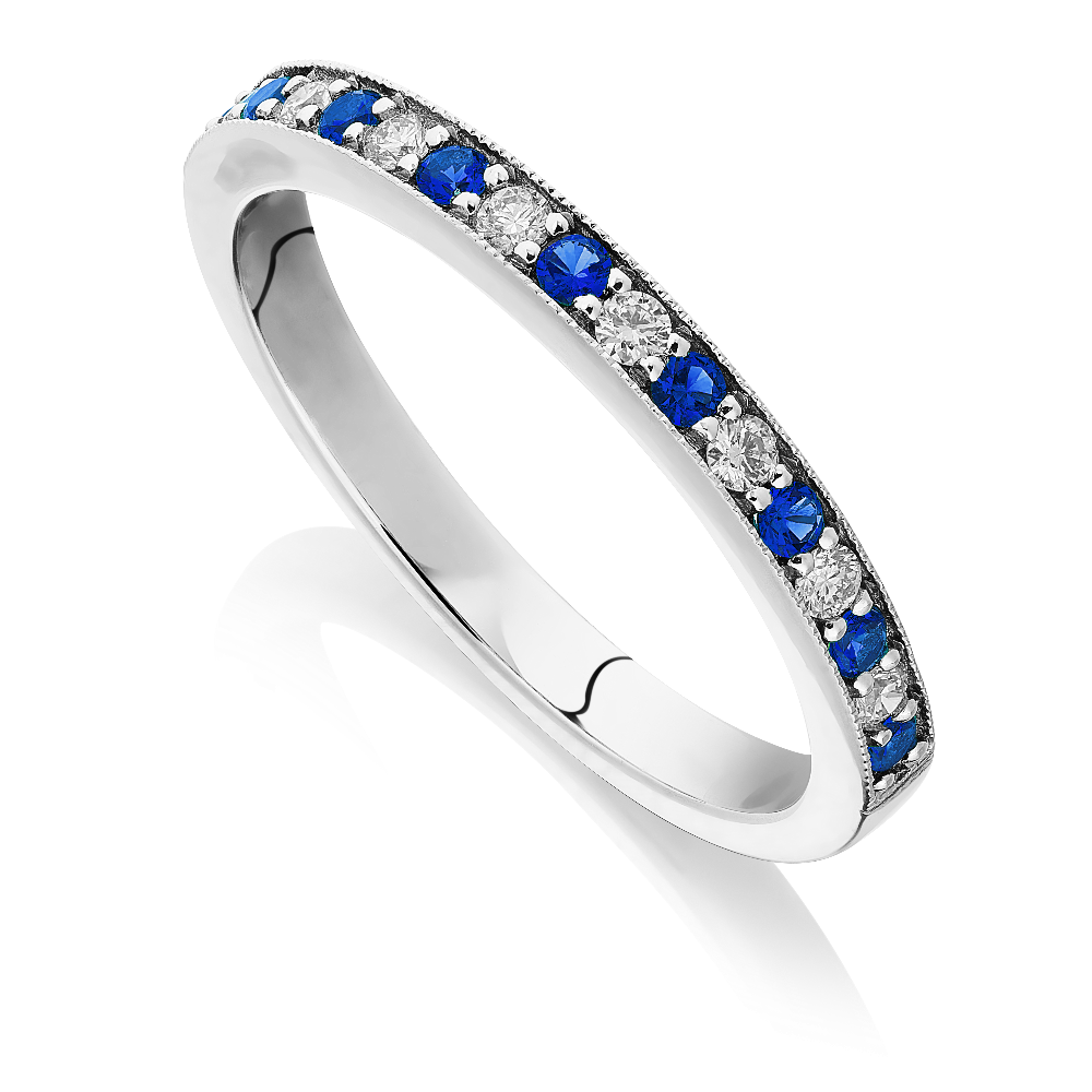 Sapphire and Diamond Half Eternity Ring With Milgrain Edge