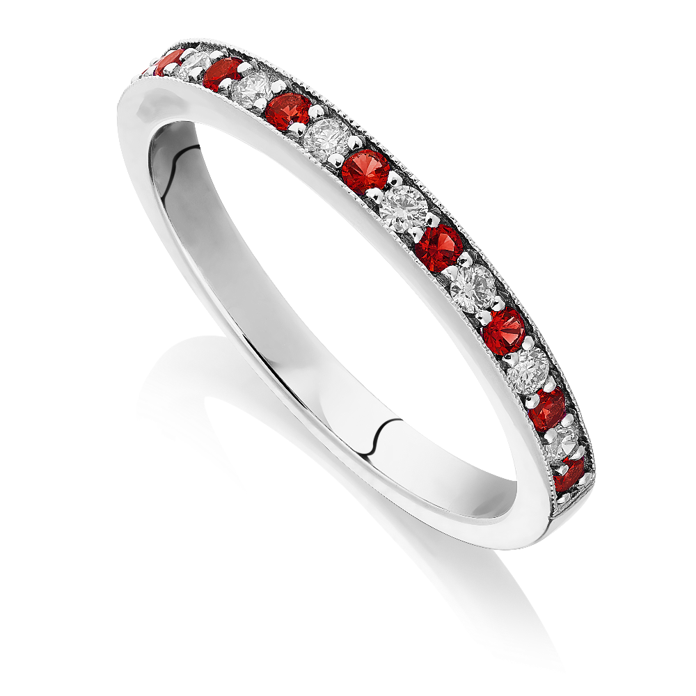 Ruby and Diamond Half Eternity Ring With Milgrain Edge