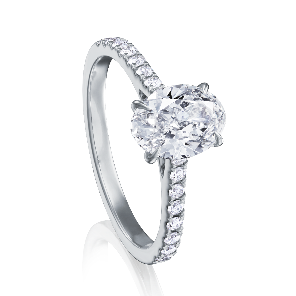 Oval Diamond Ring With Diamond Set Shoulders