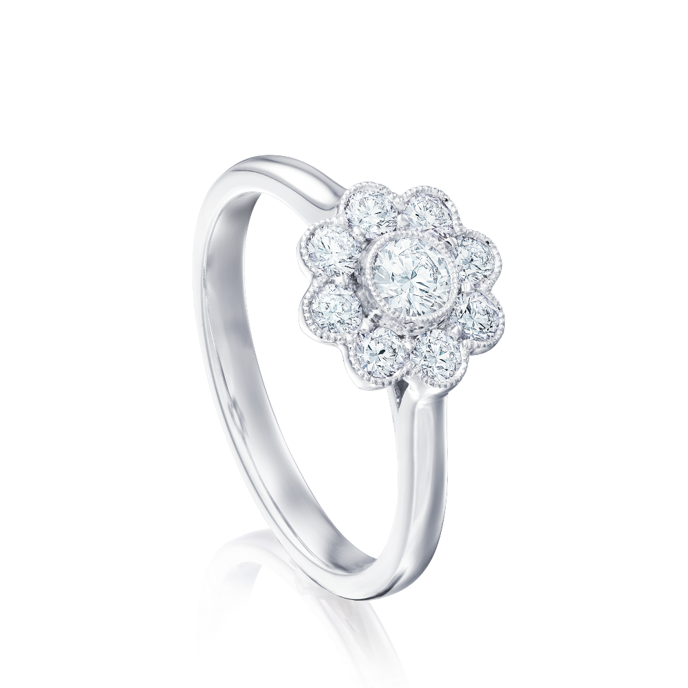 Daisy Diamond Cluster Ring