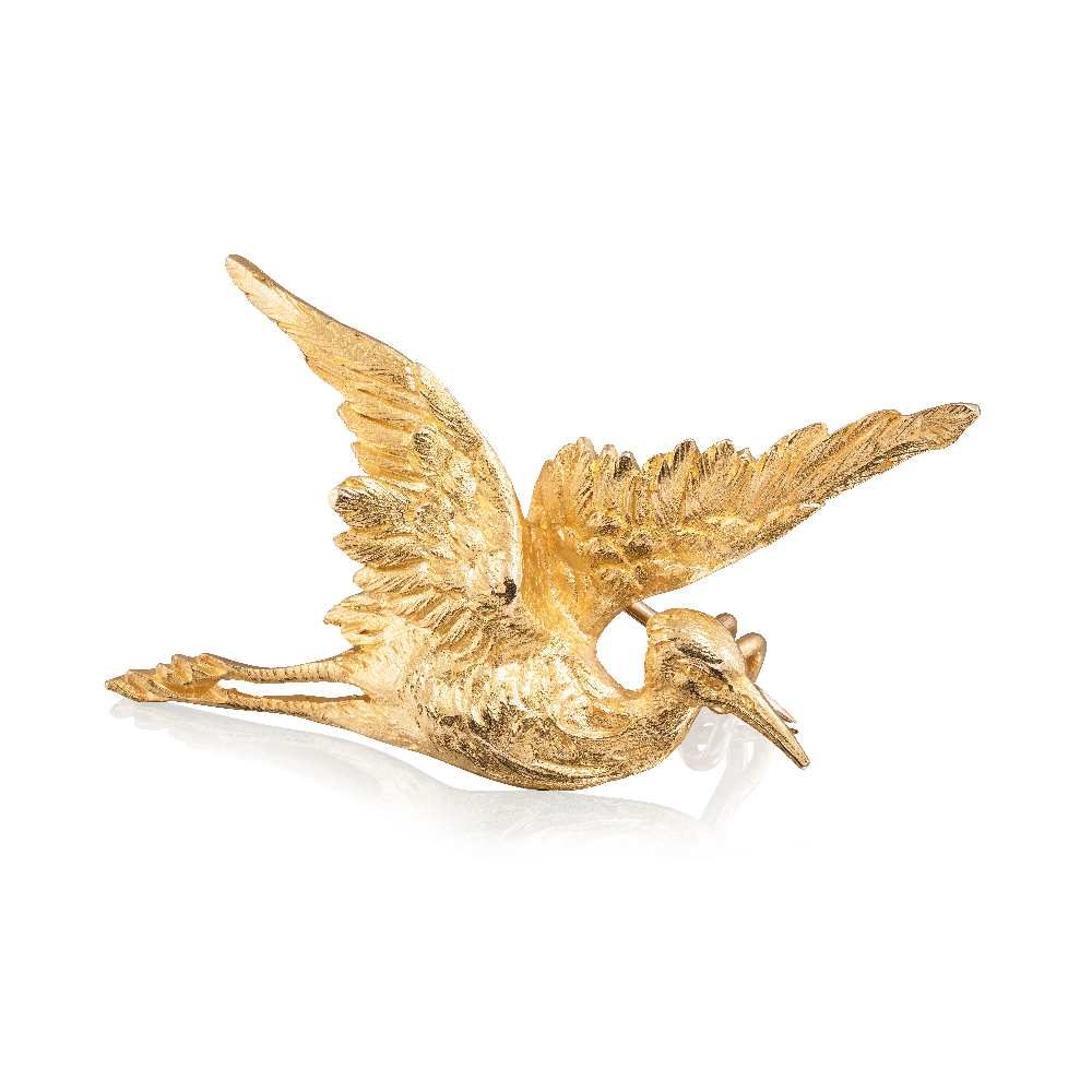 18ct Yellow Gold Stork Brooch
