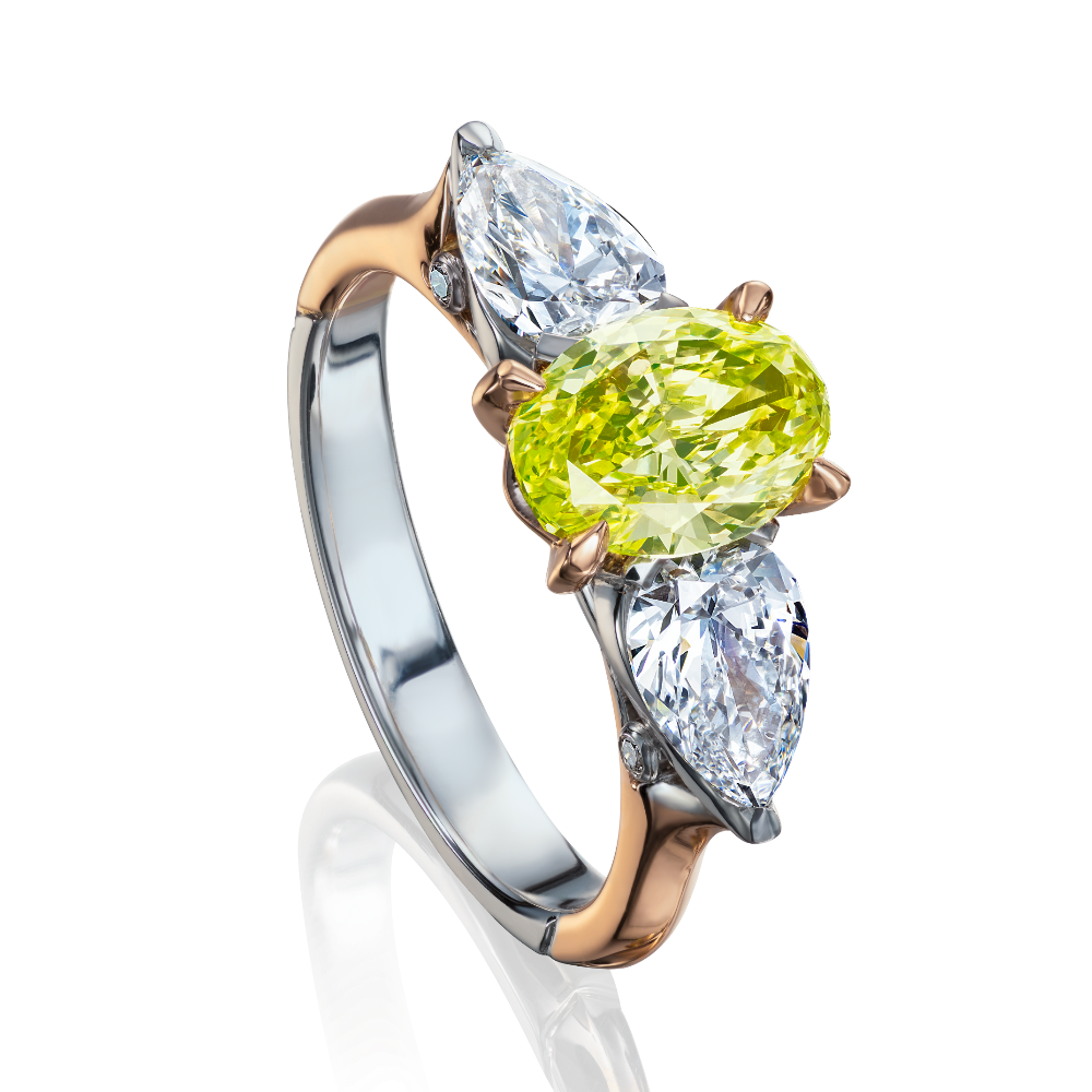 Fancy Intense Green Oval Diamond Ring