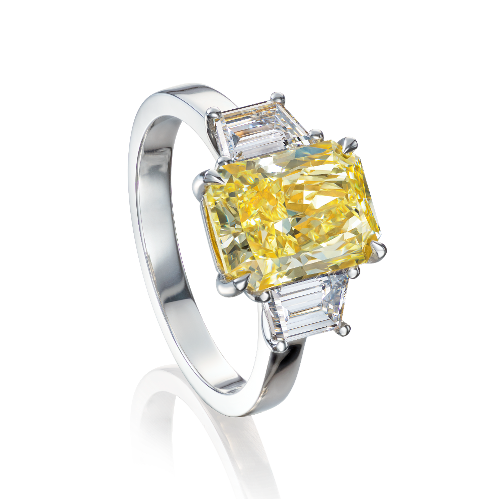 Certificated, Natural, Fancy Yellow Diamond Three Stone Ring