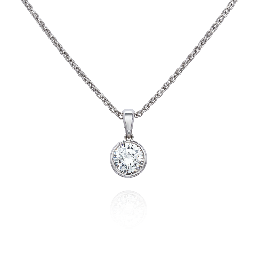 Diamond Pendant in Platinum Rub Over Setting