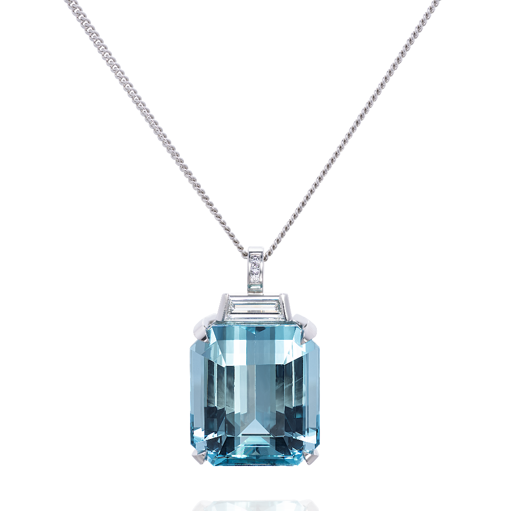 Aquamarine and Baguette Cut Diamond Pendant