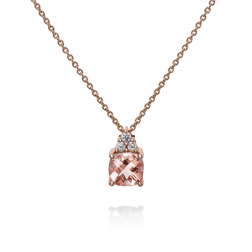 Cushion Morganite and Diamond Pendant