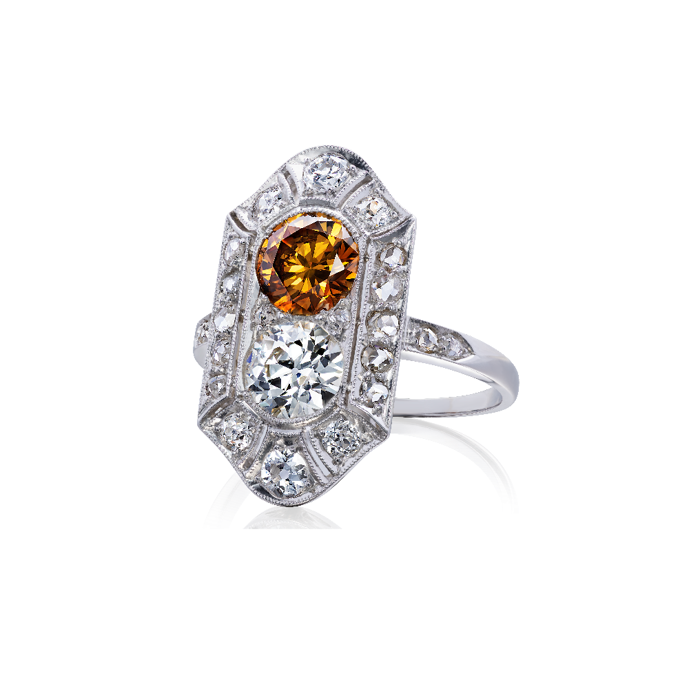 Antique Orange Diamond Tablet Ring