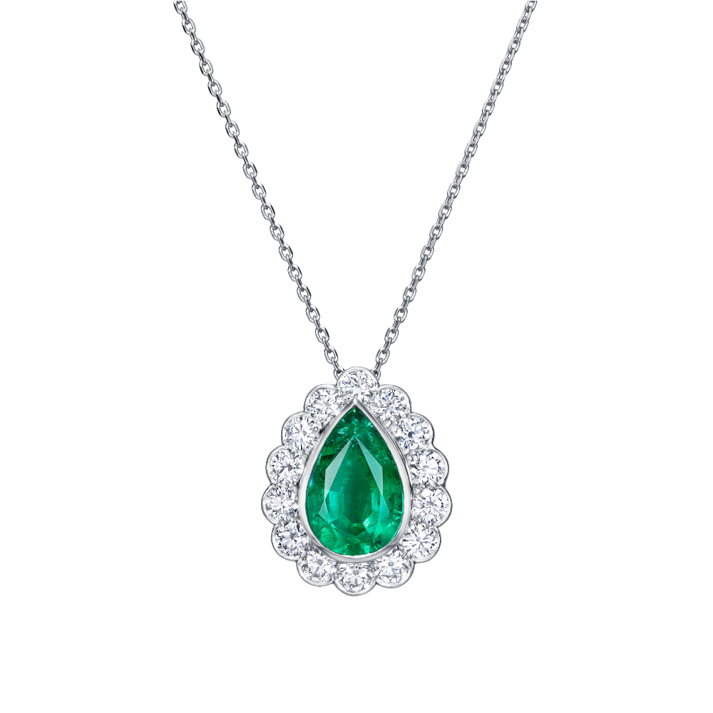 Pear Shape Emerald and Diamond Cluster Pendant
