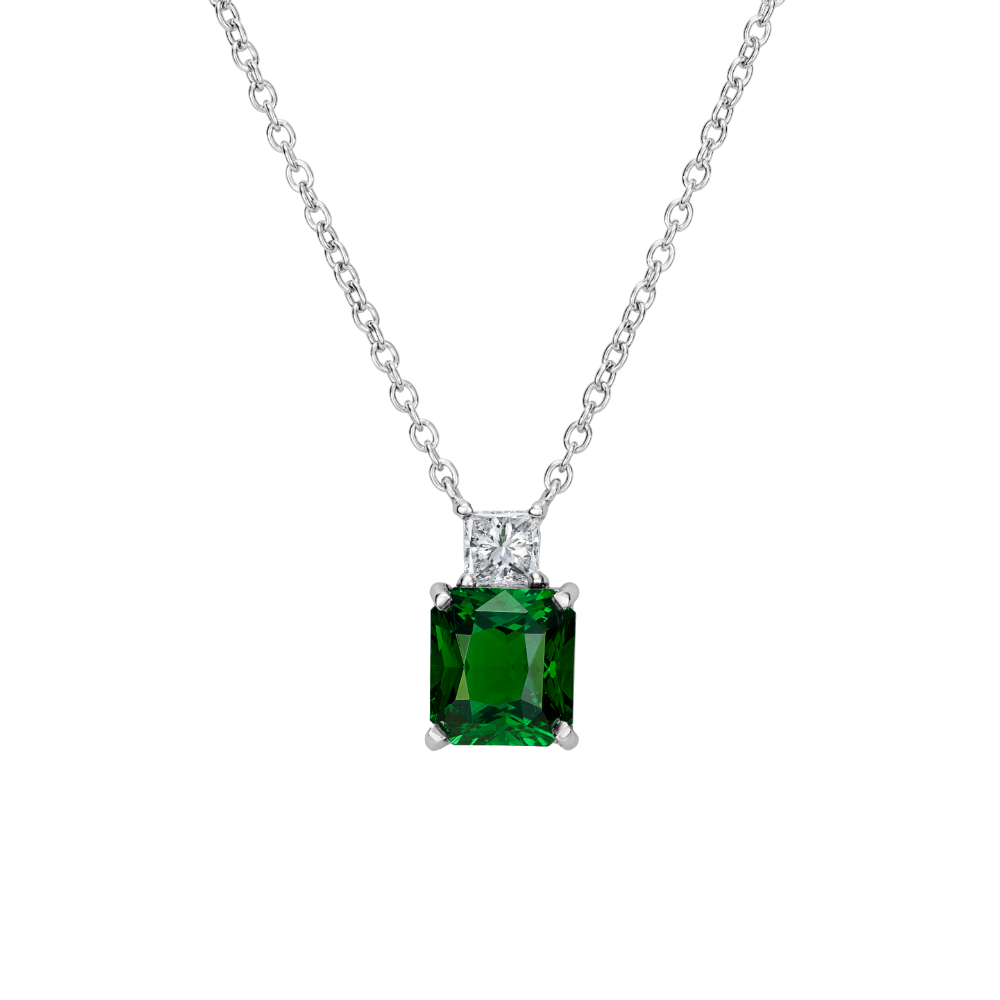 Tsavorite Garnet and Diamond Pendant