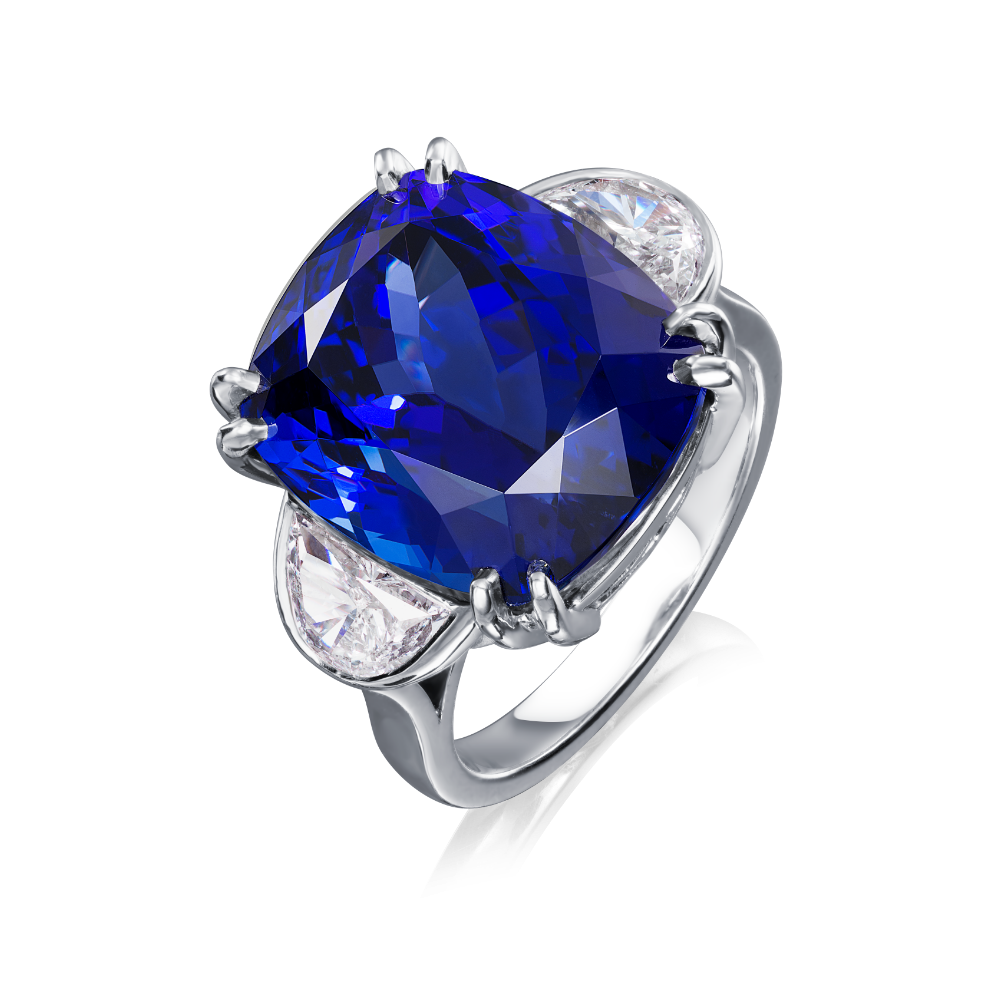 Tanzanite and Half Moon Diamond Ring