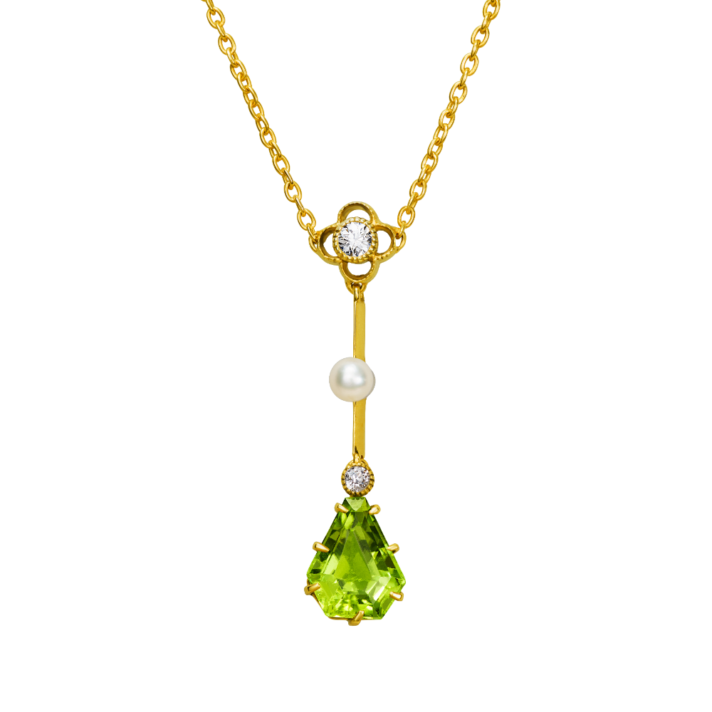 Peridot and Seed Pearl Pendant