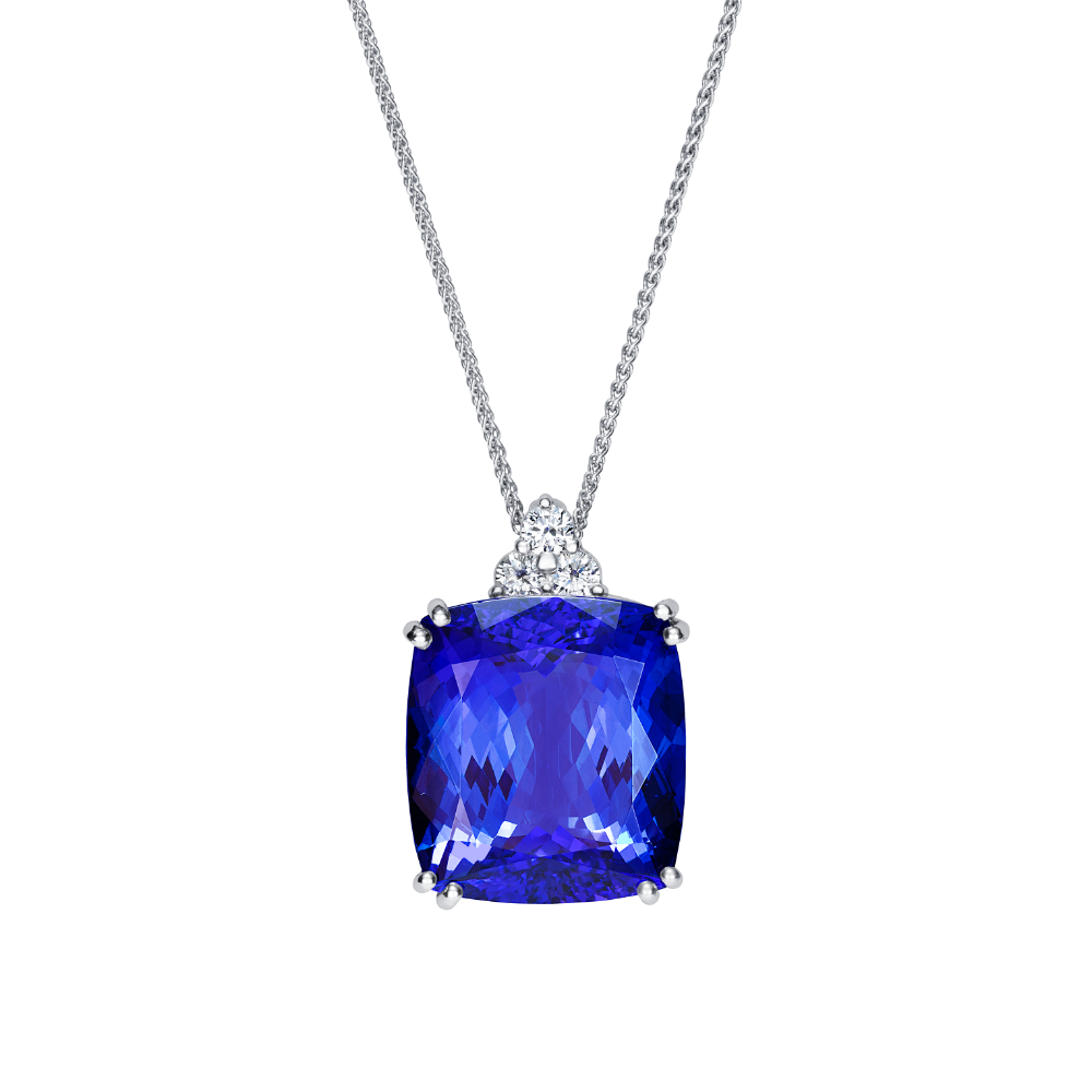 Tanzanite With a Trefoil of Diamonds Pendant