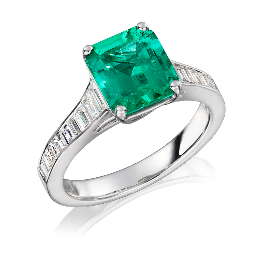 Octagonal Emerald and Tapering Diamond Shoulders Ring